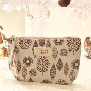 Makeup Bag Zipper Top Tan Nature Christmas Present